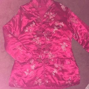 Oriental silk blazer RED